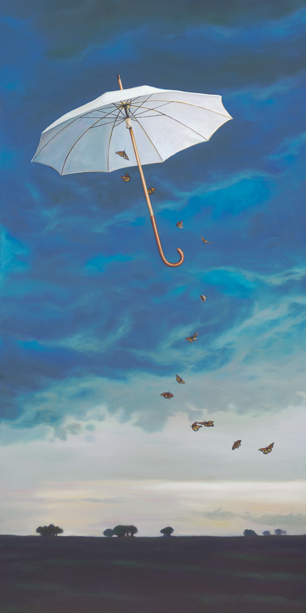 A Fateful Encounter with Chance, painting of butterflies flying with an umbrella with a storm forming in the background, art elements are umbrella, sky, high floating clouds, many butterflies, landscape, art metaphor about taking chances and fate, soulful uplifting inspirational art, soul stirring illusion art, romantic art,  surrealism, surreal art, dreamlike imagery, fanciful art, fantasy art, dreamscape visual, metaphysical art, spiritual painting, metaphysical painting, spiritual art, whimsical art, whimsy art, dream art, fantastic realism art, magic realism oil painting by Paul Bond