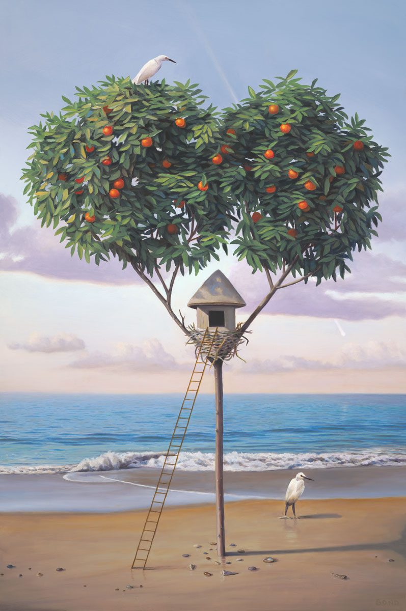 A Home at the Edge of the World, Home, painting of a heart shaped tree, elements of art with a ladder to a birdhouse on the beach, two orange trees, white cranes at the ocean, seascape with sand waves water shells and a birdhouse, features birds ibis crane heron, birdsnest, ladder going up a tree, shell, art with a comet or shooting start, art metaphors are pushing the edge of a boundary, growth and expansion, manifestation, soulful uplifting inspirational art, soul stirring illusion art, romantic art,  surrealism, surreal art, dreamlike imagery, fanciful art, fantasy art, dreamscape visual, metaphysical art, spiritual painting, metaphysical painting, spiritual art, whimsical art, whimsy art, dream art, fantastic realism art, magic realism oil painting by Paul Bond