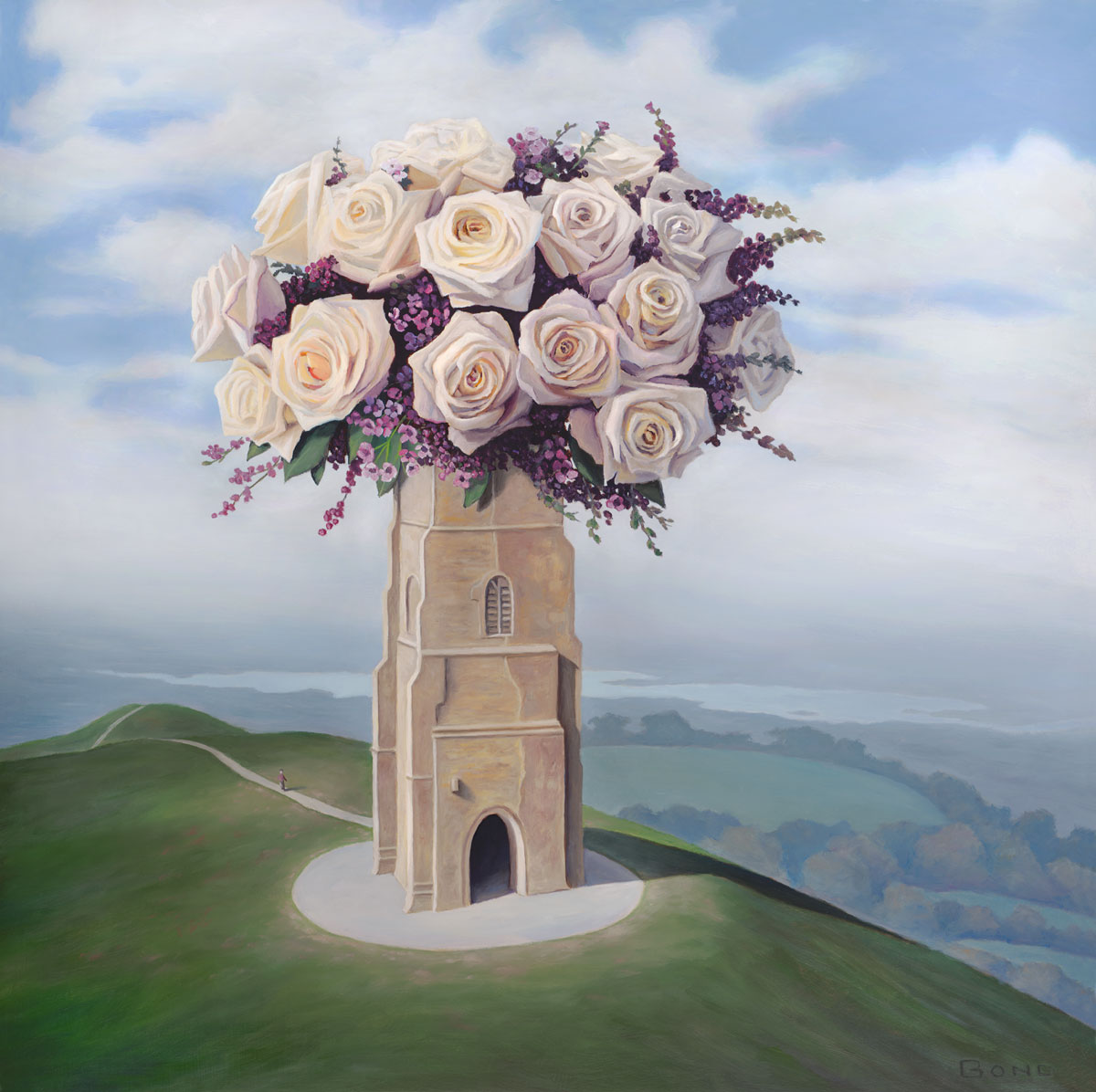 A Homecoming, art with roses, painting of the Glastonbury Tor, art with flowers, art with castle, painting of Tower of St Michael's in Glastonbury, England, painting of abby church ruins, art with man walking on path, portrait of landscape with clouds, male figure with hill and sky, painting meaning reincarnation, art meaning grace love and peace, art conveying travel, painting with idealism, soulful uplifting inspirational art, soul stirring illusion art, romantic art,  surrealism, surreal art, dreamlike imagery, fanciful art, fantasy art, dreamscape visual, metaphysical art, spiritual painting, metaphysical painting, spiritual art, whimsical art, whimsy art, dream art, fantastic realism art, magic realism oil painting by Paul Bond