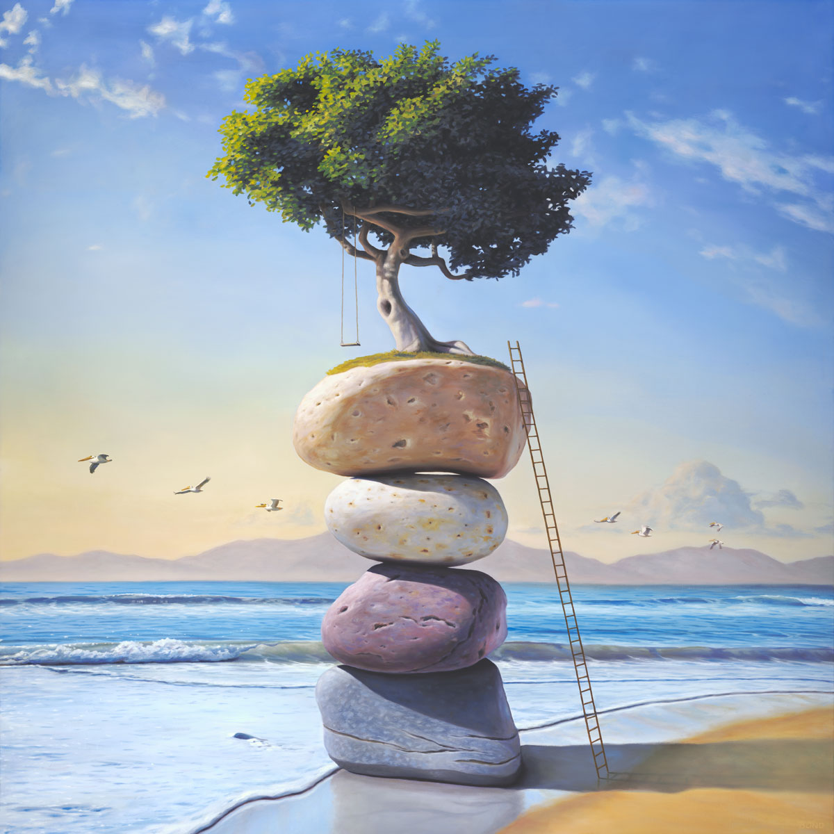 A Hymn to the Summer of My Long Ago, art wtih painting of a tree and tree swing perched on top of stacked stones on the beach with a ladder,  art with pelican bird, art with stacked stones, art with cairn rocks, art wtih flying swing in the sky, art metaphors about remembering memory memories childhood and structure, clouds, ocean, art about precarious balance, soulful uplifting inspirational art, soul stirring illusion art, romantic art,  surrealism, surreal art, dreamlike imagery, fanciful art, fantasy art, dreamscape visual, metaphysical art, spiritual painting, metaphysical painting, spiritual art, whimsical art, whimsy art, dream art, fantastic realism art, magic realism oil painting by Paul Bond