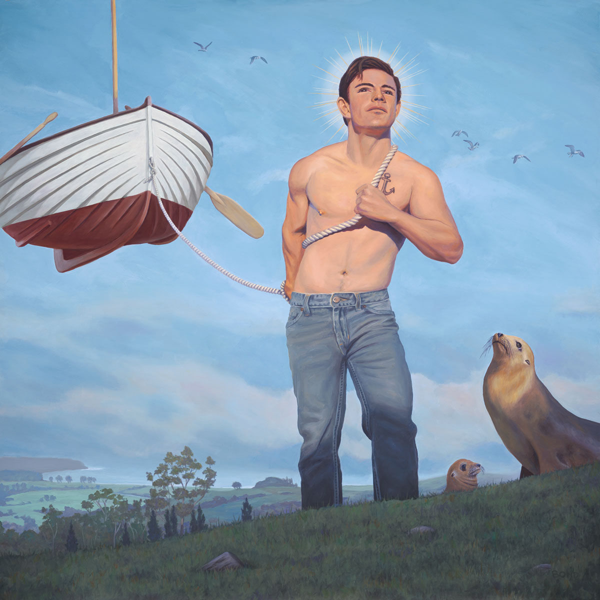 Daniel, Patron Saint of Wayward Mariners, painting of a man pulling a floating boat, allegory, time, illusion, boy, saint, hero, sky, water, ocean, seal, sea lion, birds, floating, waves, wings, boat, love, strong, transformation, desire, power, strength, wisdom, kindness, natural, trompe l'oeil, soulful uplifting inspirational art, soul stirring illusion art, romantic art,  surrealism, surreal art, dreamlike imagery, fanciful art, fantasy art, dreamscape visual, metaphysical art, spiritual painting, metaphysical painting, spiritual art, whimsical art, whimsy art, dream art, fantastic realism art, magic realism oil painting by Paul Bond