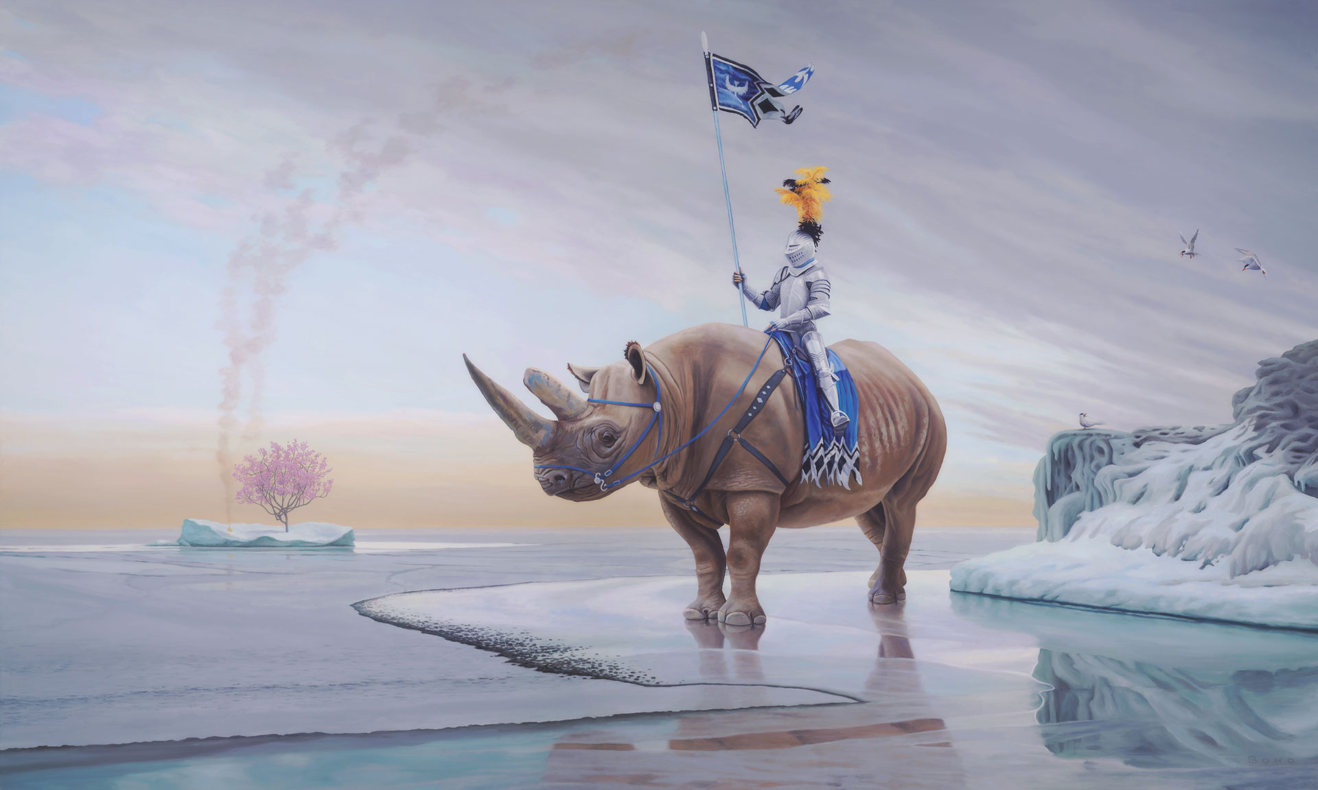 Harbingers of a Vanishing World, painting of a knight on a rhino in the arctic, art with rhinoceros, art with ice flow and ocean, painting of man riding horse, art with iceberg, portrait of  knight in armor on an ice sheet with sky and clouds, art with conquering knight, painting meaning about patriarchy and matriarchy, art with signal fire, art with arctic terns, art meaning divine feminine and balance, Art about extinction and protecting the environment, painting about global warming, art conveying patriarchal society, painting with idealism, soulful uplifting inspirational art, soul stirring illusion art, romantic art,  surrealism, surreal art, dreamlike imagery, fanciful art, fantasy art, dreamscape visual, metaphysical art, spiritual painting, metaphysical painting, spiritual art, whimsical art, whimsy art, dream art, fantastic realism art, magic realism oil painting by Paul Bond