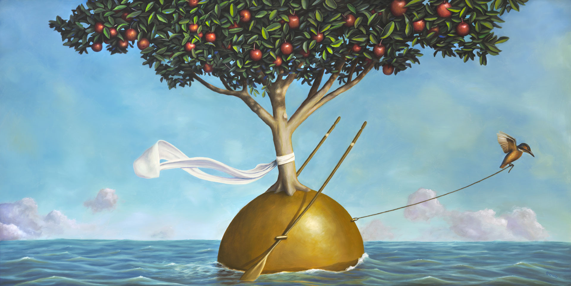Passage of the Wisdom Keeper, painting of a kingfisher bird pulling an apple tree wearing a scarf with rope through the ocean, wisdom, apple, tree, sea, waves, oars, scarf, bird, kingfisher, orb, clouds, trompe l'oeil, soulful uplifting inspirational art, soul stirring illusion art, romantic art,  surrealism, surreal art, dreamlike imagery, fanciful art, fantasy art, dreamscape visual, metaphysical art, spiritual painting, metaphysical painting, spiritual art, whimsical art, whimsy art, dream art, fantastic realism art, magic realism oil painting by Paul Bond