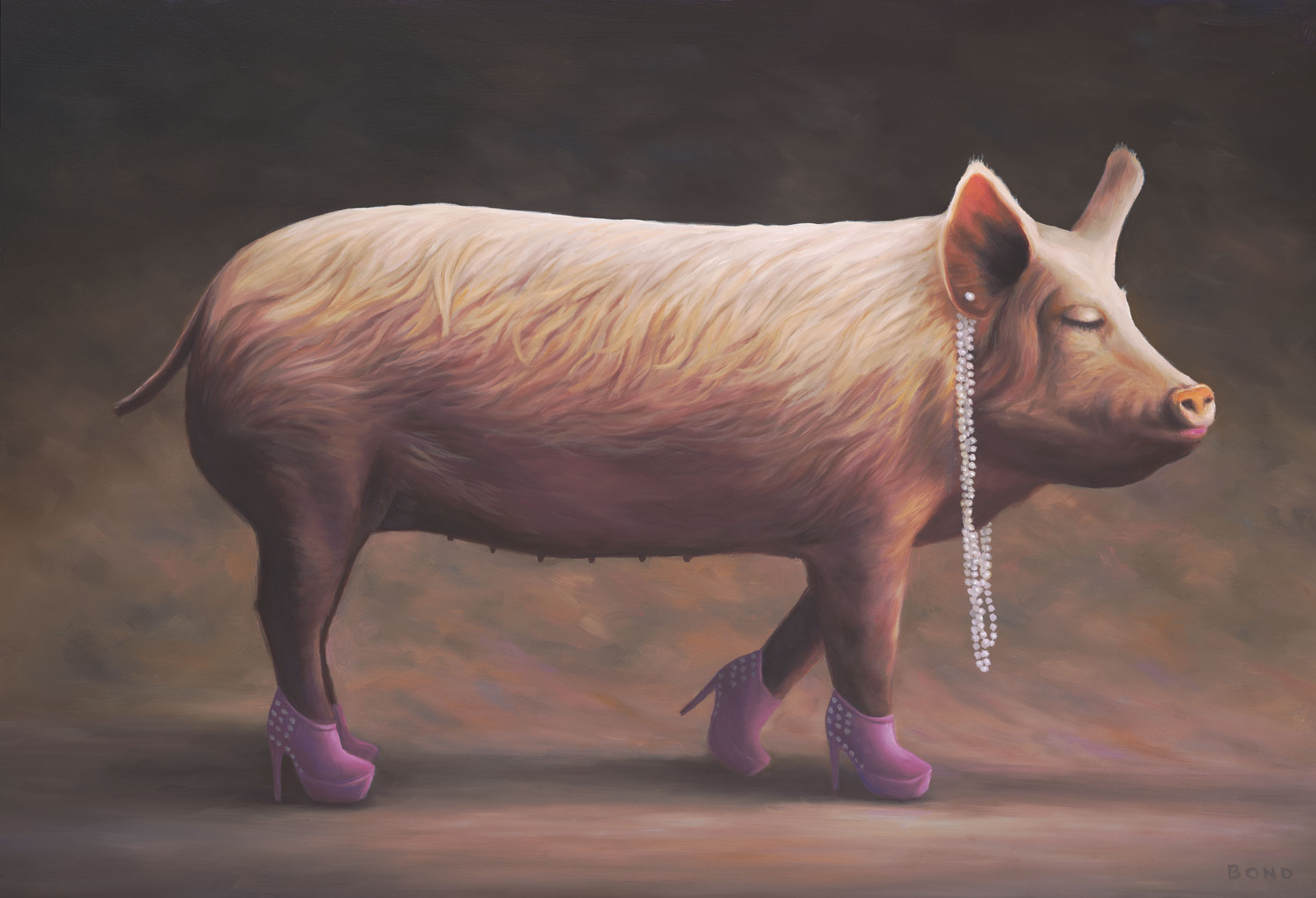 Piglet's First Beauty Pageant, painting of a pink piglet wearing pink high heels and pearl earings, painting of pig with a necklace, art with pink lipstick and a pig, lipstick on a pig,  beauty in the eye of the beholder, painting about inner beauty pageant, art meaning lovely beautiful delightful, art wtih high heeled shoes, art with pearl necklace, art meaning grace, soulful uplifting inspirational art, soul stirring illusion art, romantic art,  surrealism, surreal art, dreamlike imagery, fanciful art, fantasy art, dreamscape visual, metaphysical art, spiritual painting, metaphysical painting, spiritual art, whimsical art, whimsy art, dream art, fantastic realism art, magic realism oil painting by Paul Bond