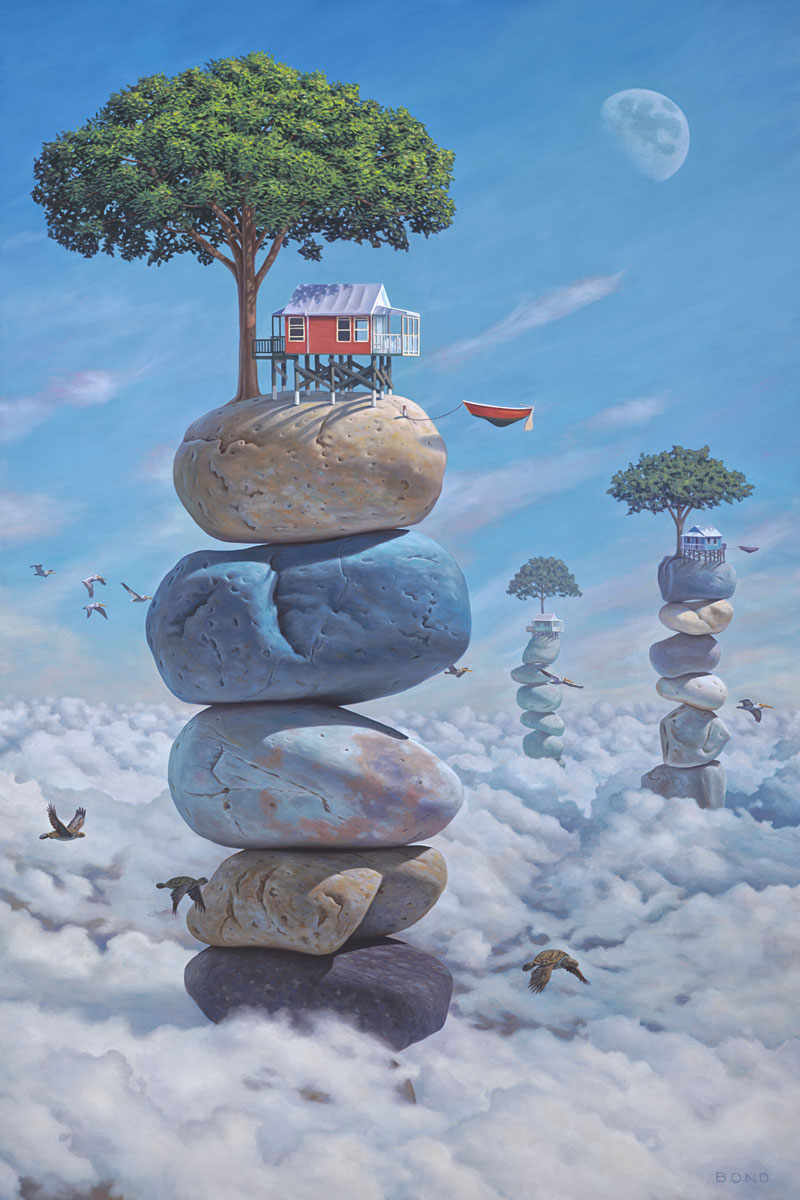 Possessing a Most Irrational Sense of Optimism, painting of houses atop stacked stones floating in clouds, art with stacked rock cairn, art about happiness, painting meaning happiness positive joy, art with pelican bird flying in the sky with clouds and trees, art with winged sea turtle, painting with flying boat, surreal art with the moon, painting with nature, soulful uplifting inspirational art, soul stirring illusion art, romantic art,  surrealism, surreal art, dreamlike imagery, fanciful art, fantasy art, dreamscape visual, metaphysical art, spiritual painting, metaphysical painting, spiritual art, whimsical art, whimsy art, dream art, fantastic realism art, magic realism oil painting by Paul Bond