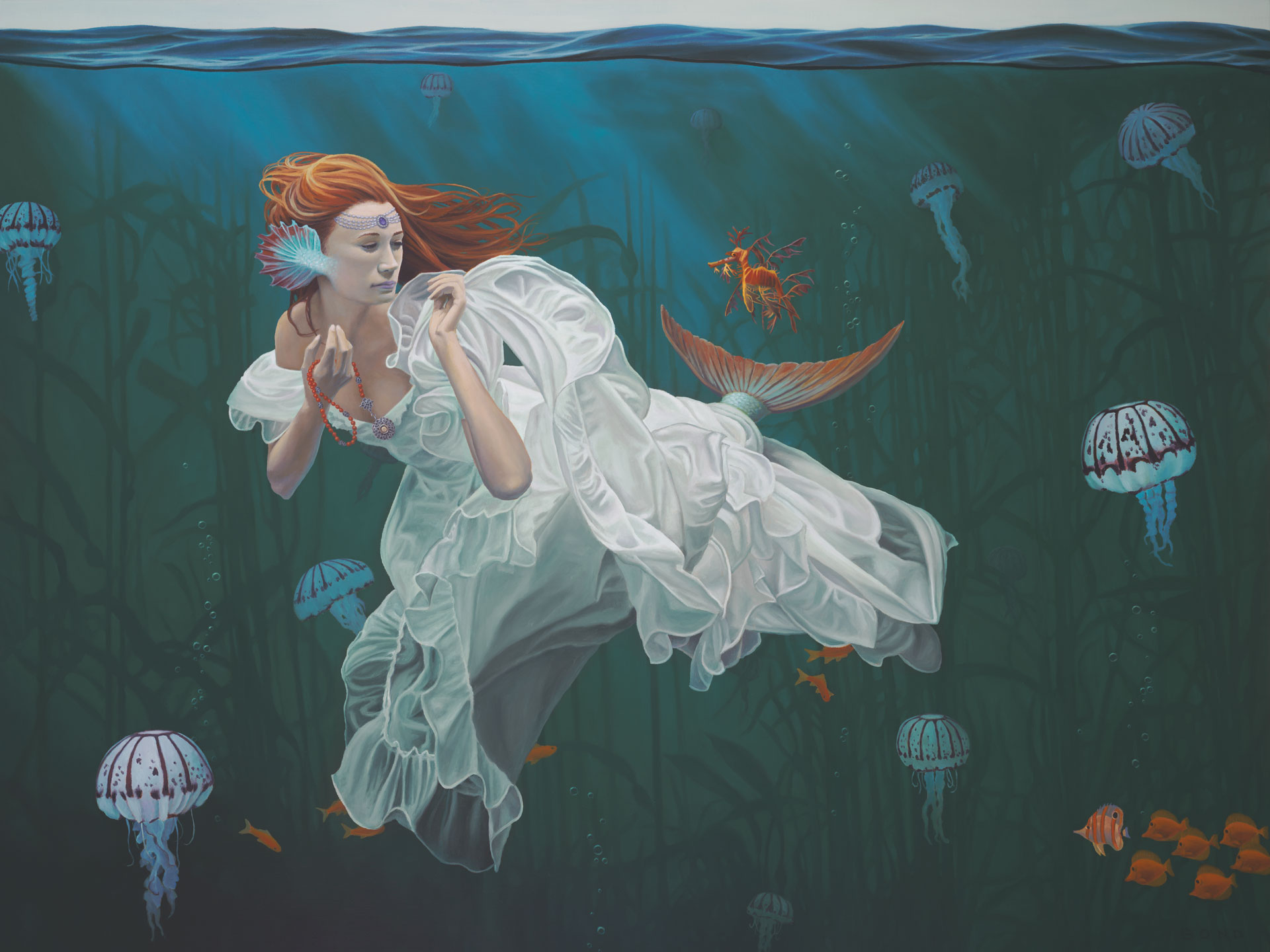 Princess and the Dragon, painting of a mermaid with a leafy sea dragon and purple jellyfish, art with girl as mermaid, picture of woman under water in white flowy dress, art with kelp forest, painting with sea dragon and jellyfish, lady with a fin underwater, soulful uplifting inspirational art, soul stirring illusion art, romantic art,  surrealism, surreal art, dreamlike imagery, fanciful art, fantasy art, dreamscape visual, metaphysical art, spiritual painting, metaphysical painting, spiritual art, whimsical art, whimsy art, dream art, fantastic realism art, magic realism oil painting by Paul Bond