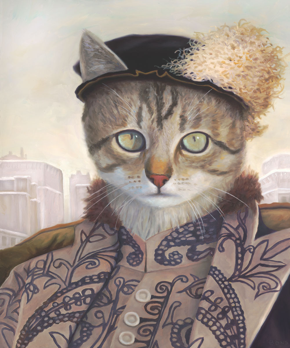 The Carriage Ride, Circa 1890 painting of a leisurely cat wearing upper class attire, animal  portrait, painting about wealthy upper class, painting set in 19th Century, steampunk industry, juxtapose art, art with cat kitty kitten, art with hat and feather, soulful uplifting inspirational art, soul stirring illusion art, romantic art,  surrealism, surreal art, dreamlike imagery, fanciful art, fantasy art, dreamscape visual, metaphysical art, spiritual painting, metaphysical painting, spiritual art, whimsical art, whimsy art, dream art, fantastic realism art, magic realism oil painting by Paul Bond
