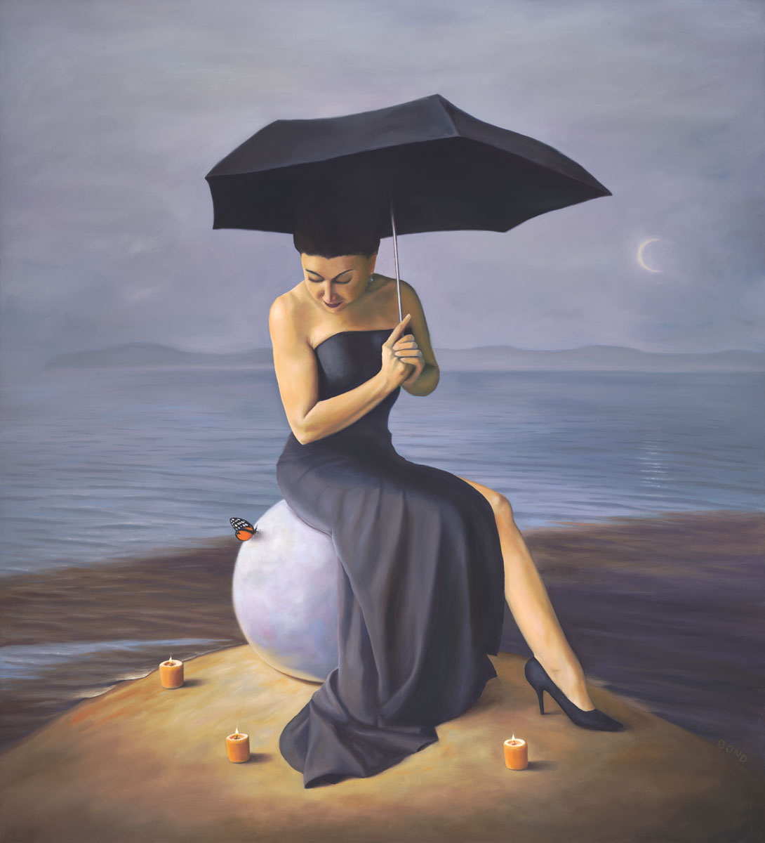The Luminous Pearl of Her Appointed Plenitude, painting of a woman wearing a black dress sitting on a rock holding an umbrella with candles and a butterfly around her, art about woman dreaming, female figure sitting on a giant pearl, painting with butterflies and  ocean, sea, water, umbrella, black dress, candles, catalina, ceremony, ceremonial, moon, soulful uplifting inspirational art, soul stirring illusion art, romantic art,  surrealism, surreal art, dreamlike imagery, fanciful art, fantasy art, dreamscape visual, metaphysical art, spiritual painting, metaphysical painting, spiritual art, whimsical art, whimsy art, dream art, fantastic realism art, magic realism oil painting by Paul Bond