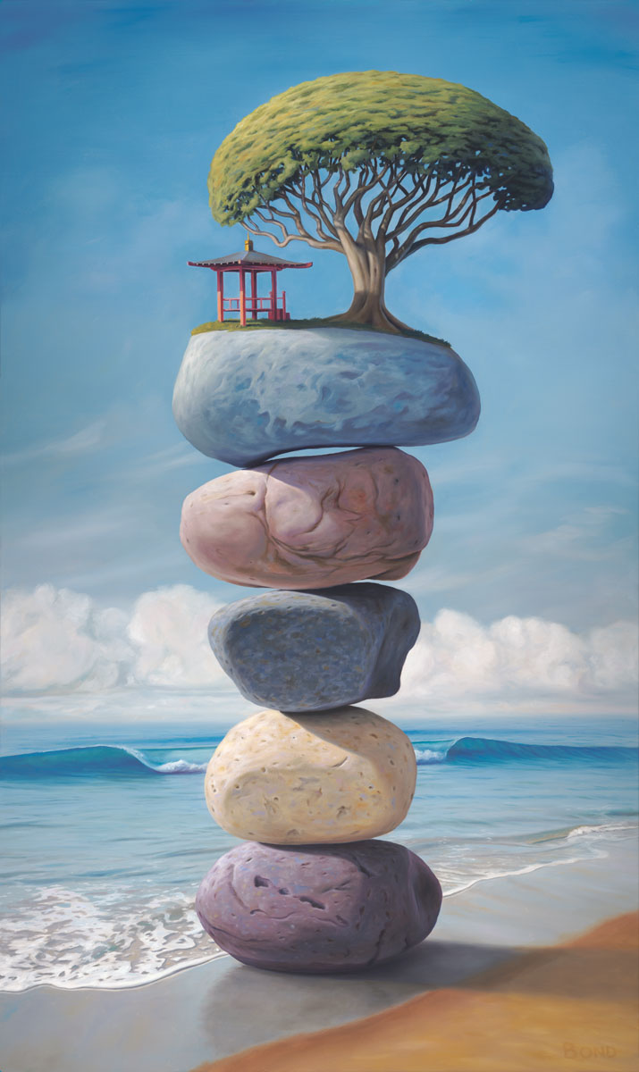 The Shape of Your Laughter, painting of an Asian pagoda temple and large tree sitting on top of stacked stones on the beach,  rocks, art with stacked rock cairn, art about balance, sky, high, floating, clouds, tree, water, art with waves, sea, ocean, surf, surfing art, beach, temple, art with chinese asian japanese theme, soulful uplifting inspirational art, soul stirring illusion art, romantic art,  surrealism, surreal art, dreamlike imagery, fanciful art, fantasy art, dreamscape visual, metaphysical art, spiritual painting, metaphysical painting, spiritual art, whimsical art, whimsy art, dream art, fantastic realism art, magic realism oil painting by Paul Bond