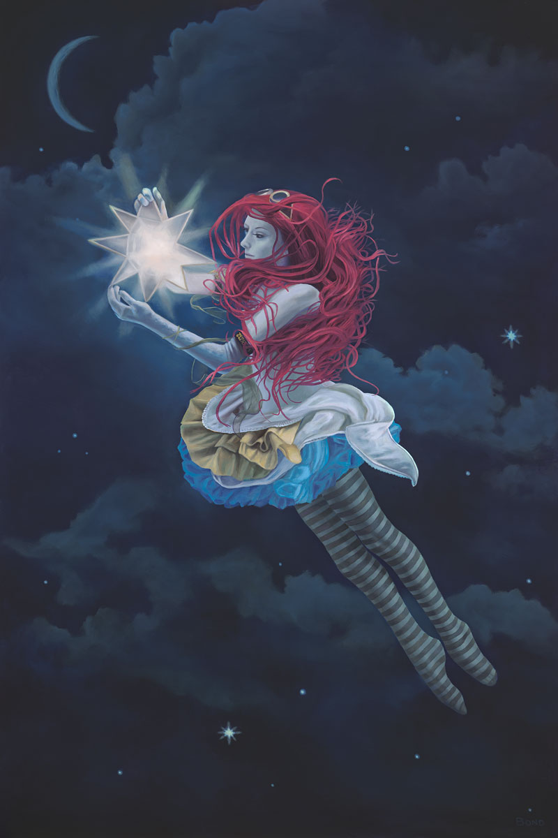 The Star Hanger, painting of a steam punk girl floating in night sky holding star, Girl, portrait, woman, sky, clouds, star, girl with pink hair, redhead, dancer, fairy, float, fly, lantern, lamp, light, muse, divine, art, creativity, carnival, steam punk, costume, flying, flight, art with poetry, inspiration, idealism, trompe l'oeil, soulful uplifting inspirational art, soul stirring illusion art, romantic art,  surrealism, surreal art, dreamlike imagery, fanciful art, fantasy art, dreamscape visual, metaphysical art, spiritual painting, metaphysical painting, spiritual art, whimsical art, whimsy art, dream art, fantastic realism art, magic realism oil painting by Paul Bond
