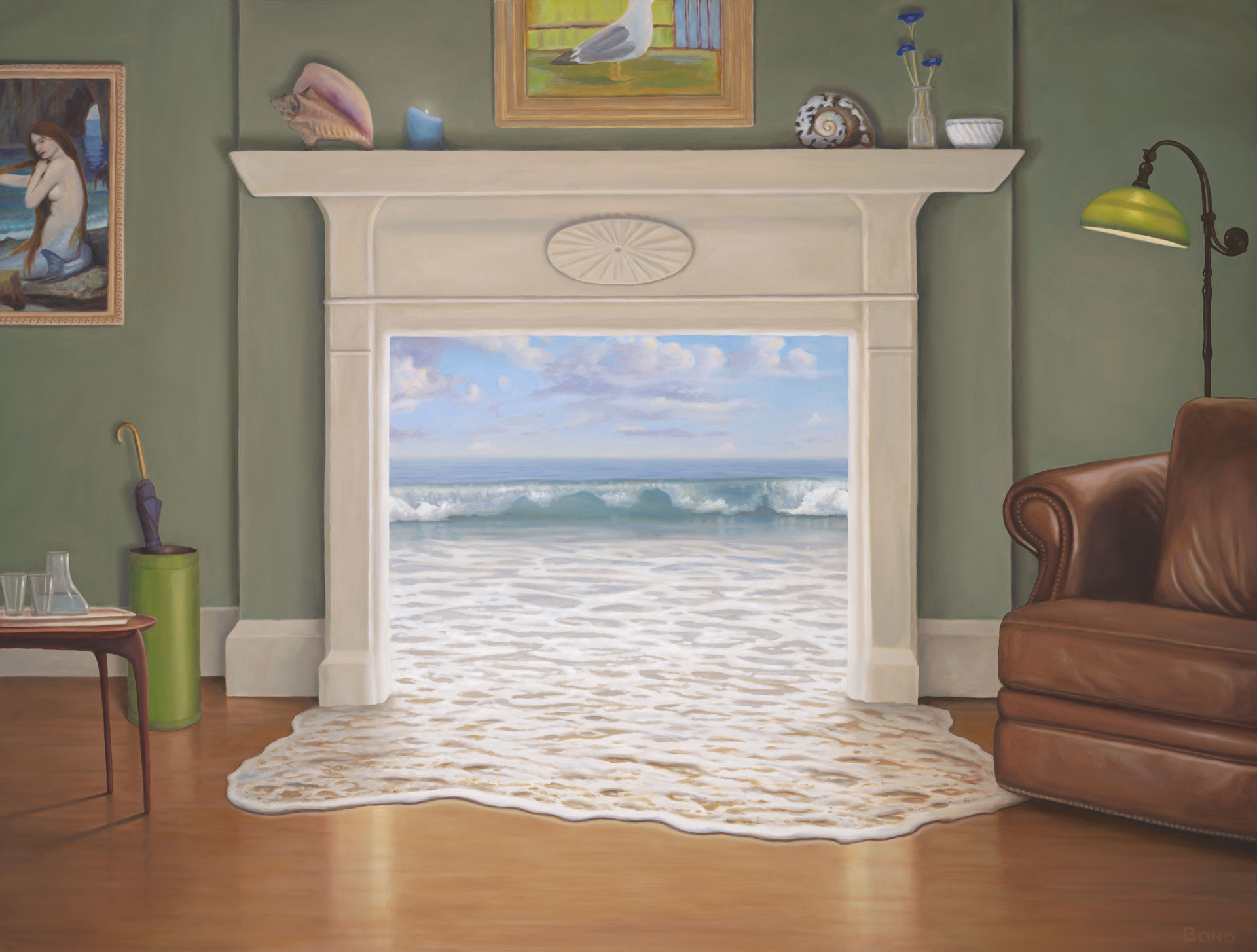 The Waterhouse, painting of the ocean coming through the fireplace into the living room, dreaming, ocean, art with waves surfing, sea, illusion, John William Waterhouse, mermaid, seagull, leather chair, living room, atr about beach living, manifest, shell, umbrella, foam, wood floor, lamp, trompe l'oeil, soulful uplifting inspirational art, soul stirring illusion art, romantic art,  surrealism, surreal art, dreamlike imagery, fanciful art, fantasy art, dreamscape visual, metaphysical art, spiritual painting, metaphysical painting, spiritual art, whimsical art, whimsy art, dream art, fantastic realism art, magic realism oil painting by Paul Bond