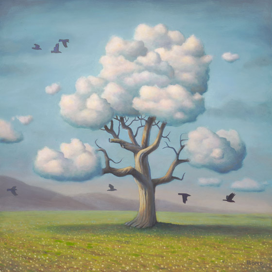 A Conspiracy of Nature, painting of a tree with cloud branches and birds flying around,  art includes sky, clouds, trees, flying, nature, art with raven crow, soulful uplifting inspirational art, soul stirring illusion art, romantic art,  surrealism, surreal art, dreamlike imagery, fanciful art, fantasy art, dreamscape visual, metaphysical art, spiritual painting, metaphysical painting, spiritual art, whimsical art, whimsy art, dream art, fantastic realism art, magic realism oil painting by Paul Bond