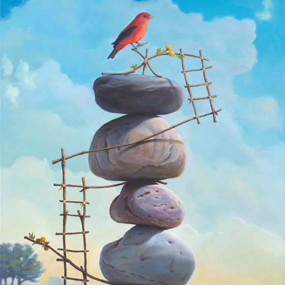 A Delicate Perch, painting of a red bird perched atop stacked stones with ladders built out of twigs and flowers on a hillside, art includes birds, red, stacked stones, cairn, rocks, sky, flying, twigs, ladder, structure, precarious balance, clouds, art represents courage, art represents release, soulful uplifting inspirational art, soul stirring illusion art, romantic art,  surrealism, surreal art, dreamlike imagery, fanciful art, fantasy art, dreamscape visual, metaphysical art, spiritual painting, metaphysical painting, spiritual art, whimsical art, whimsy art, dream art, fantastic realism art, magic realism oil painting by Paul Bond