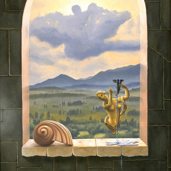 Always The Procreant Urge Of The World, painting of a castle window with a female figurine and shell on ledge overlooking the countryside, soulful uplifting inspirational art, soul stirring illusion art, romantic art,  surrealism, surreal art, dreamlike imagery, fanciful art, fantasy art, dreamscape visual, metaphysical art, spiritual painting, metaphysical painting, spiritual art, whimsical art, whimsy art, dream art, fantastic realism art, magic realism oil painting by Paul Bond