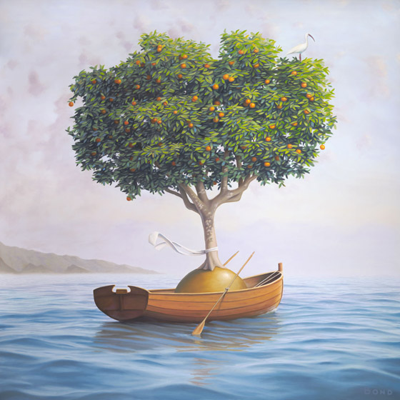 An Expedition of Supreme Benevolence, painting of an orange tree in a rowboat with a scarf on the water, art wtih orange tree, art wtih rowboat, art with ship, art with orb, dreamscape of ocean illusion, painting wtih optical illustion, art with ocean wave and surf, soulful uplifting inspirational art, soul stirring illusion art, romantic art,  surrealism, surreal art, dreamlike imagery, fanciful art, fantasy art, dreamscape visual, metaphysical art, spiritual painting, metaphysical painting, spiritual art, whimsical art, whimsy art, dream art, fantastic realism art, magic realism oil painting by Paul Bond