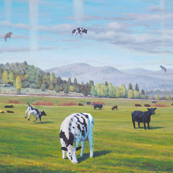 Ascending Cows aka the Great Bovine Rapture, painting of cows ascending to the sky,  art meaning is happiness, art about adapting,art conveying positive joy, art with cattle, art with cows, art with a ranch in a field with a pasture, art about fate chance hope, art wtih floating cows, art meaning enlightened enlightenment, soulful uplifting inspirational art, soul stirring illusion art, romantic art,  surrealism, surreal art, dreamlike imagery, fanciful art, fantasy art, dreamscape visual, metaphysical art, spiritual painting, metaphysical painting, spiritual art, whimsical art, whimsy art, dream art, fantastic realism art, magic realism oil painting by Paul Bond
