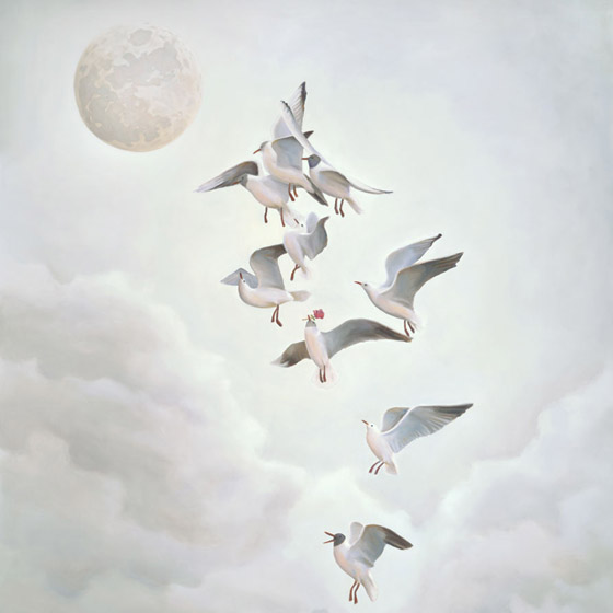 Courting the Moon, painting of seagulls courting the moon with roses, art with ceremony, art with ritual, art with the moon, painting with seagulls flying, lunar love, art meaning about courtship, soulful uplifting inspirational art, soul stirring illusion art, romantic art,  surrealism, surreal art, dreamlike imagery, fanciful art, fantasy art, dreamscape visual, metaphysical art, spiritual painting, metaphysical painting, spiritual art, whimsical art, whimsy art, dream art, fantastic realism art, magic realism oil painting by Paul Bond