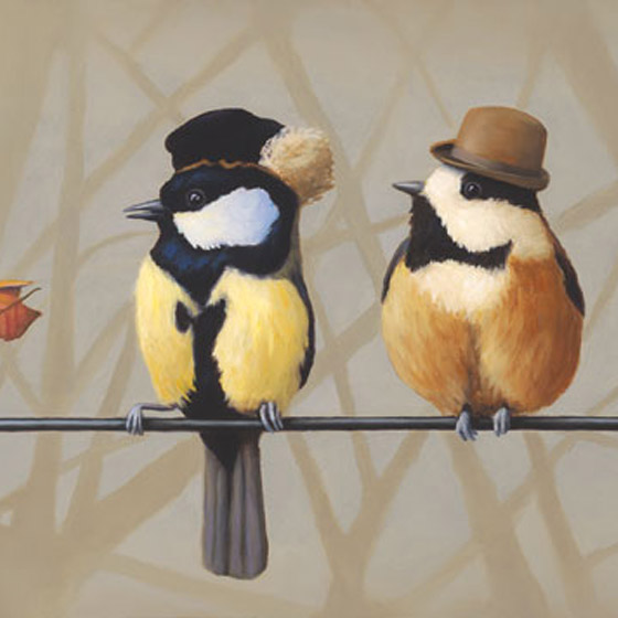 Family Dynamics, painting of birds wearing steampunk hats on wire, painting of bird family, art about children, art about balance, art of birds on a wire, painting with bowler hat top hat 19th century clothing, painting with sky trees and birds, soulful uplifting inspirational art, soul stirring illusion art, romantic art,  surrealism, surreal art, dreamlike imagery, fanciful art, fantasy art, dreamscape visual, metaphysical art, spiritual painting, metaphysical painting, spiritual art, whimsical art, whimsy art, dream art, fantastic realism art, magic realism oil painting by Paul Bond
