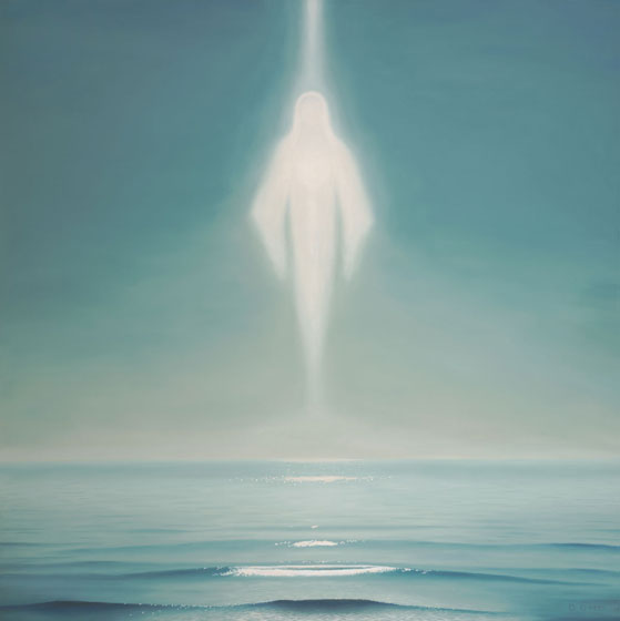 Oceana, painting of the ocean with a Spiritual figure forming from sunlight, sun streaming down into the sea from above, art with angelic figure, soulful uplifting inspirational art, art with waves, soul stirring illusion art, romantic art,  surrealism, surreal art, dreamlike imagery, fanciful art, fantasy art, dreamscape visual, metaphysical art, spiritual painting, metaphysical painting, spiritual art, whimsical art, whimsy art, dream art, fantastic realism art, magic realism oil painting by Paul Bond