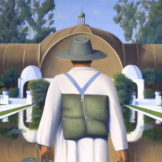 On The Path Of Knowing, painting of a man walking on water toward arboretum, art with temple, painting about wisdom and inner knowing, art with mystery, painting with San Diego balboa park, art with water lily reflecting pond, Art about being there, soulful uplifting inspirational art, soul stirring illusion art, romantic art,  surrealism, surreal art, dreamlike imagery, fanciful art, fantasy art, dreamscape visual, metaphysical art, spiritual painting, metaphysical painting, spiritual art, whimsical art, whimsy art, dream art, fantastic realism art, magic realism oil painting by Paul Bond