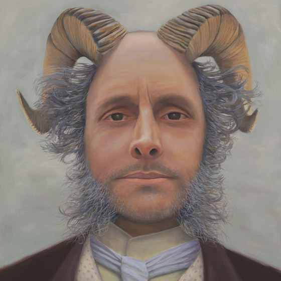 Prof. Thaddeus Steadman Lectures on the Moral Implications of Primal Urgings, painting of a 19th century professor with goat horns coming out of his head, Man, portrait, 19th Century, professor, lecture, goat, ram, horns, pan, beard, trompe l'oeil, soulful uplifting inspirational art, soul stirring illusion art, romantic art,  surrealism, surreal art, dreamlike imagery, fanciful art, fantasy art, dreamscape visual, metaphysical art, spiritual painting, metaphysical painting, spiritual art, whimsical art, whimsy art, dream art, fantastic realism art, magic realism oil painting by Paul Bond