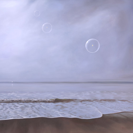 Sojourn, painting of a foggy beach with three floating bubbles with flickering flames inside, painting about death, art meaning hospice, art about life after death, painting depicting the afterlife, painting with orbs, misty ocean scene, soulful uplifting inspirational art, soul stirring illusion art, romantic art,  surrealism, surreal art, dreamlike imagery, fanciful art, fantasy art, dreamscape visual, metaphysical art, spiritual painting, metaphysical painting, spiritual art, whimsical art, whimsy art, dream art, fantastic realism art, magic realism oil painting by Paul Bond
