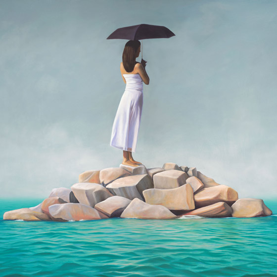 The Arrival, painting of a woman in white standing on an island of rocks in the ocean, art with girl holding a black umbrella staring into the distant ocean, female figure on an island, missing luggage baggage, art about clarity and manifestation, painting about relationship, art with black umbrella, art about being alone and solitude, art abhout desire, art meaning intuition and hope, painting about waiting for love, soulful uplifting inspirational art, soul stirring illusion art, romantic art,  surrealism, surreal art, dreamlike imagery, fanciful art, fantasy art, dreamscape visual, metaphysical art, spiritual painting, metaphysical painting, spiritual art, whimsical art, whimsy art, dream art, fantastic realism art, magic realism oil painting by Paul Bond