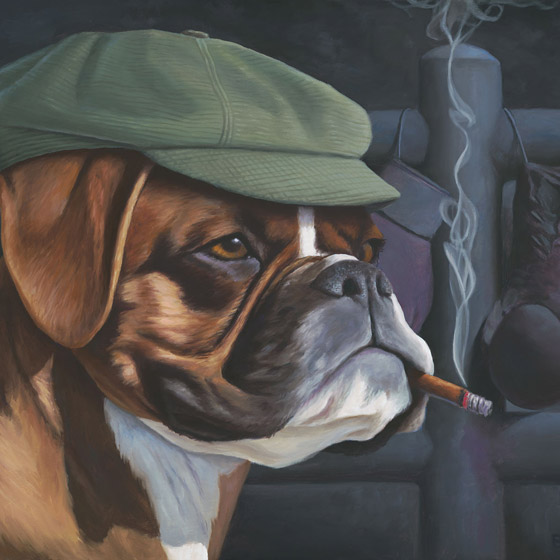 The Boxer, painting of a brown and white boxer dog wearing a green newsboy cap and smoking a cigar with boxing gloves in background, art with boxer boxing ring, dog, trompe l'oeil, soulful uplifting inspirational art, soul stirring illusion art, romantic art,  surrealism, surreal art, dreamlike imagery, fanciful art, fantasy art, dreamscape visual, metaphysical art, spiritual painting, metaphysical painting, spiritual art, whimsical art, whimsy art, dream art, fantastic realism art, magic realism oil painting by Paul Bond