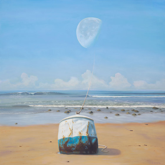 The mooring, painting of a rusted buoy sitting on the edge of the sand with a rope that goes up to the moon, mooring, tied, art with moon, rope, ship, rusty, beach, dream, art about love and companionship, ocean, sea, illustion, buoy, floating, drift, optical illustion, waves, surf, sand, moon, lunar, orbit, tethered, trompe l'oeil, soulful uplifting inspirational art, soul stirring illusion art, art with poetry, romantic art,  surrealism, surreal art, dreamlike imagery, fanciful art, fantasy art, dreamscape visual, metaphysical art, spiritual painting, metaphysical painting, spiritual art, whimsical art, whimsy art, dream art, fantastic realism art, magic realism oil painting by Paul Bond