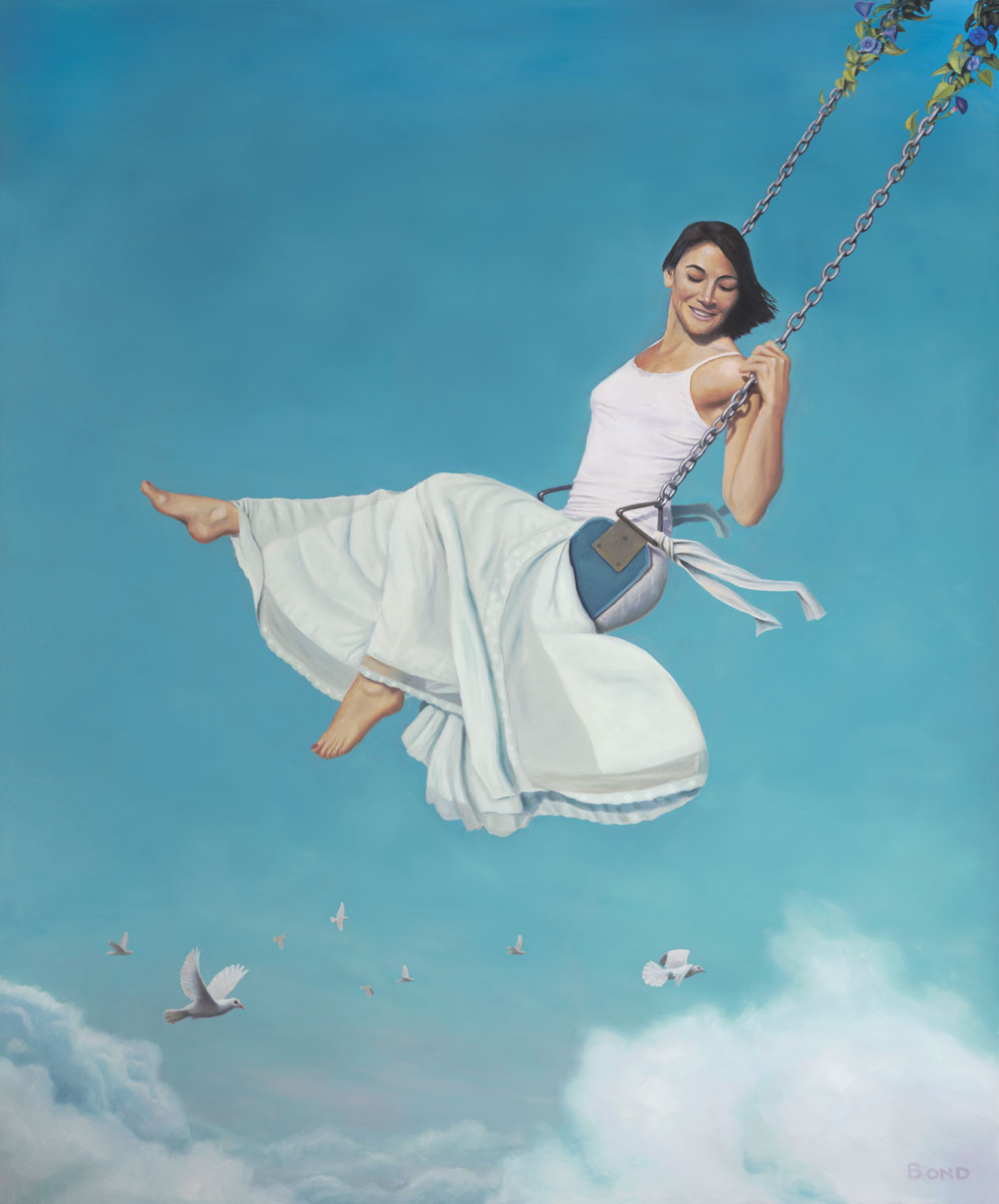 Big Push, painting of a woman swinging in the clouds with white doves,  art with girl in white, art with woman on a swing, painting of sky, art with high swing floating, art meaning with grace risk courage laughing, art with doves, art wtih birds and clouds, soulful uplifting inspirational art, soul stirring illusion art, romantic art,  surrealism, surreal art, dreamlike imagery, fanciful art, fantasy art, dreamscape visual, metaphysical art, spiritual painting, metaphysical painting, spiritual art, whimsical art, whimsy art, dream art, fantastic realism art, magic realism oil painting by Paul Bond