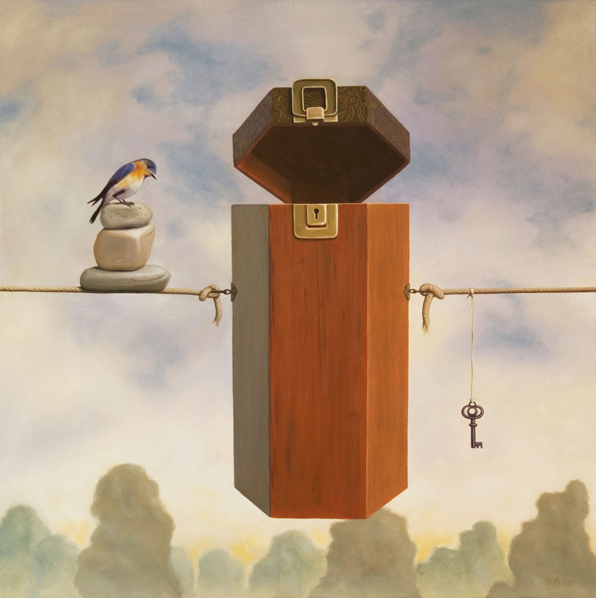Clairvoyance, painting of a wooden box strung in the air with rope with a bird on stacked stones on one side and a key dangling on the other,cairn, zen, bird, rocks, key, balance, balance, cairn, stones, psychic, seek, trompe l'oeil, soulful uplifting inspirational art, soul stirring illusion art, romantic art,  surrealism, surreal art, dreamlike imagery, fanciful art, fantasy art, dreamscape visual, metaphysical art, spiritual painting, metaphysical painting, spiritual art, whimsical art, whimsy art, dream art, fantastic realism art, magic realism oil painting by Paul Bond