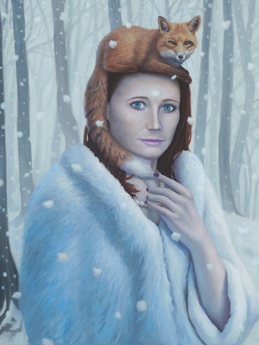 Mandy and the Familiar, painting of a redheaded woman in the snow, painting of woman wearing a white fur coat, picture of a woman with a fox sitting on her head, art with a woman, painting of a girl set with snow and snowflakes, painting with snowflakes on a woman, art wtih trees, art about love and compassion, art meaning nature and kindness, soulful uplifting inspirational art, soul stirring illusion art, romantic art,  surrealism, surreal art, dreamlike imagery, fanciful art, fantasy art, dreamscape visual, metaphysical art, spiritual painting, metaphysical painting, spiritual art, whimsical art, whimsy art, dream art, fantastic realism art, magic realism oil painting by Paul Bond