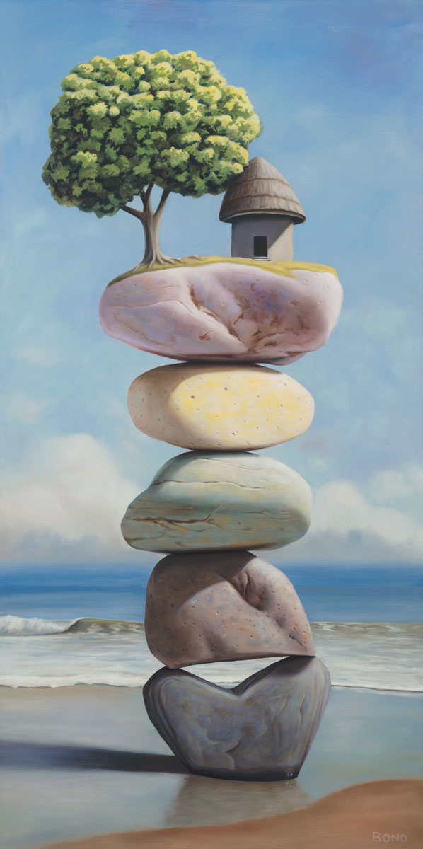 Rooted in the Years of Uncertainty, painting of stacked stones on the beach with a pagoda tree, art with small grass hut on top of cairn, art with stacked stones and rocks, art meaning balance, picture with beach ocean surf, painting of heart shaped rock, soulful uplifting inspirational art, soul stirring illusion art, romantic art,  surrealism, surreal art, dreamlike imagery, fanciful art, fantasy art, dreamscape visual, metaphysical art, spiritual painting, metaphysical painting, spiritual art, whimsical art, whimsy art, dream art, fantastic realism art, magic realism oil painting by Paul Bond