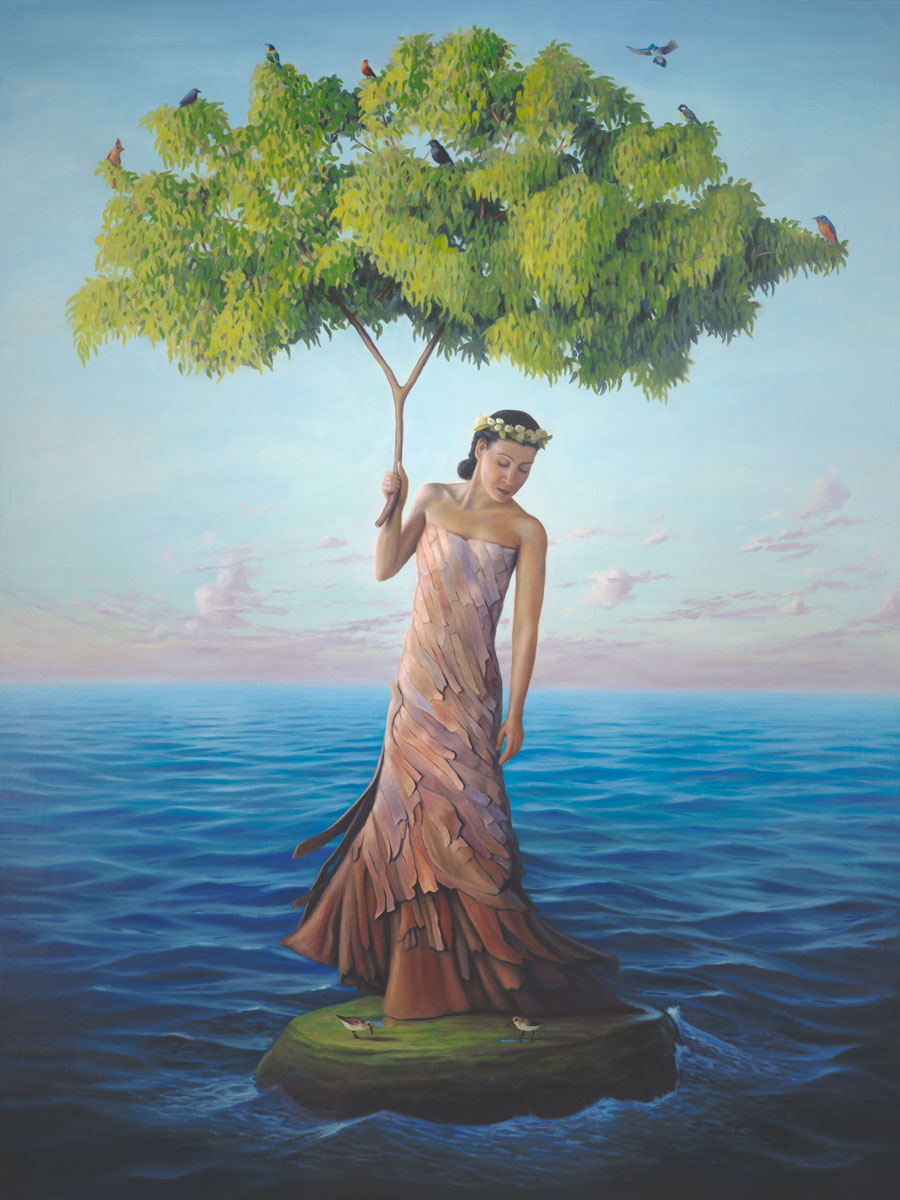 Sanctuary, painting of a eucalyptus tree as a woman, painting of a woman wearing a tree bark dress holding a eucalyptus tree branch surrounded by ocean waves and clouds, painting of a woman on an island in the ocean surrounded by sea waves, painting about refuge, soulful uplifting inspirational art, soul stirring illusion art, romantic art,  surrealism, surreal art, dreamlike imagery, fanciful art, fantasy art, dreamscape visual, metaphysical art, spiritual painting, metaphysical painting, spiritual art, whimsical art, whimsy art, dream art, fantastic realism art, magic realism oil painting by Paul Bond