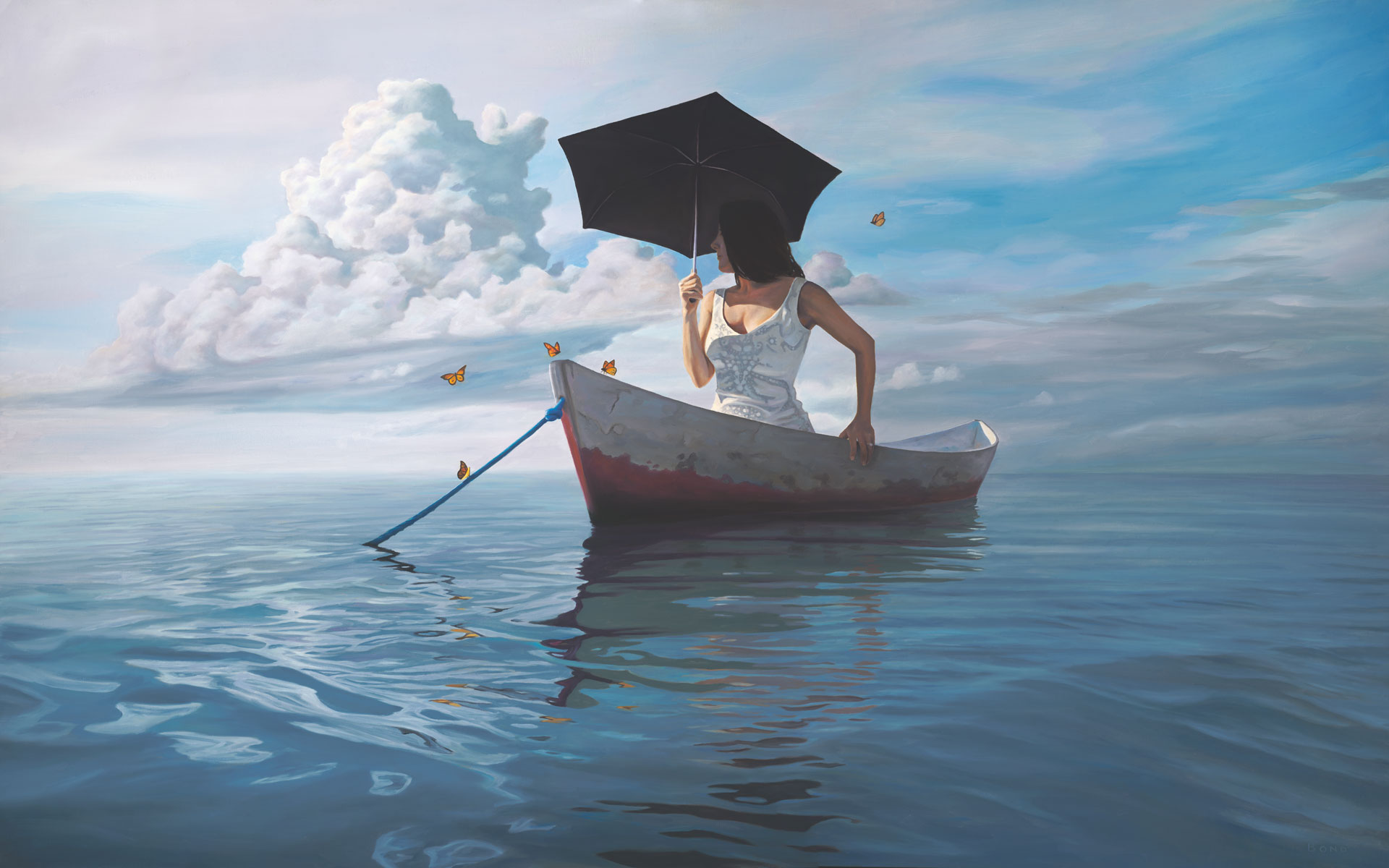 The Girl Who Married a Cloud, painting of a woman wearing a white wedding dress in row boat, art with butterflies surrounding a woman, portrait of a girl woman in a canoe boat, art with water, ocean, waves, painting of girl with umbrella, art about idealism, art about marriage and relationship, soulful uplifting inspirational art, soul stirring illusion art, romantic art,  surrealism, surreal art, dreamlike imagery, fanciful art, fantasy art, dreamscape visual, metaphysical art, spiritual painting, metaphysical painting, spiritual art, whimsical art, whimsy art, dream art, fantastic realism art, magic realism oil painting by Paul Bond