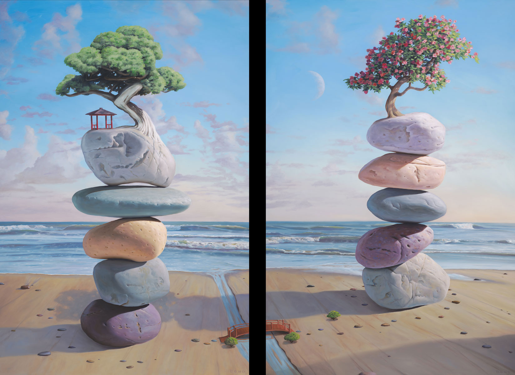 The Lovers,  diptych painting of stacked rocks connected by a bridge over a stream, painting with male and female essence, stacked stones with shelter and flowers on tree painting about home is where the heart is, art about growth and expansion, ocean, sea, sand, wave, water, rock, stone, balance, art with cairn balancing stones, bridge, path, tree, bonsai, beach, manifest, cherry blossom, cherry tree, moon, soulful uplifting inspirational art, soul stirring illusion art, romantic art,  surrealism, surreal art, dreamlike imagery, fanciful art, fantasy art, dreamscape visual, metaphysical art, spiritual painting, metaphysical painting, spiritual art, whimsical art, whimsy art, dream art, fantastic realism art, magic realism oil painting by Paul Bond