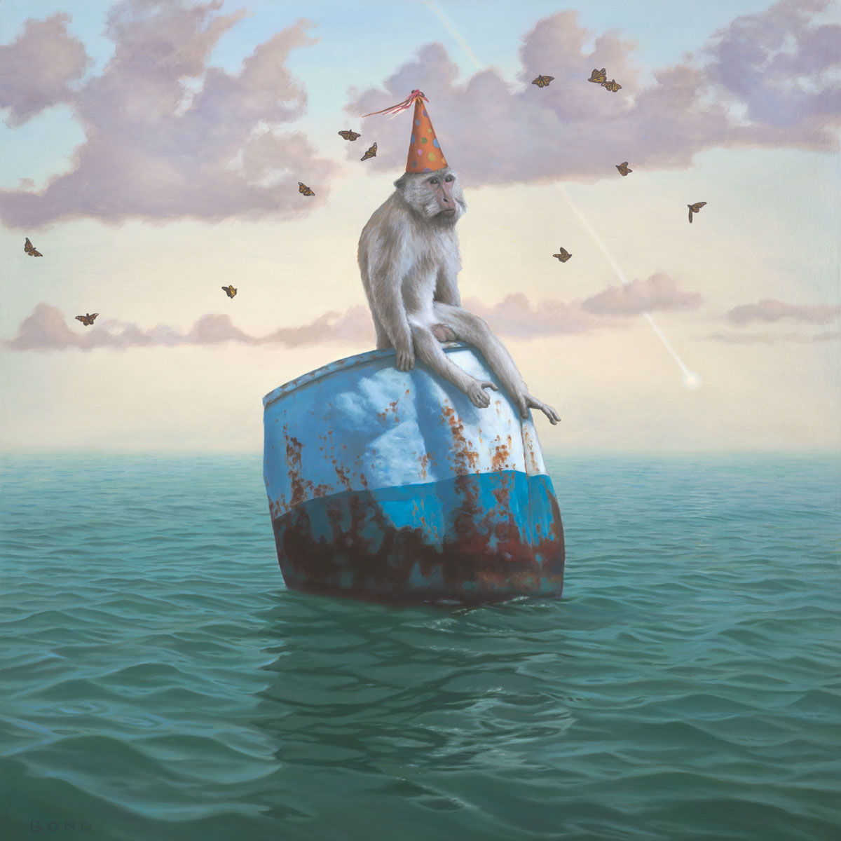 The Remarkable Circumstantial Adaptability of Man, painting of a monkey wearing a party hat floating on a barrel in the ocean,  art with long tailed macaque, art about happiness, adapt, happy, joy, positive, art with butterfly, butterflies, sky, cloud, water, ocean, waves, buoy, monkey, long-tailed macaques, art with comet meteor, omen, fate, chance, hope, party hat, birthday, float, nature, soulful uplifting inspirational art, soul stirring illusion art, romantic art,  surrealism, surreal art, dreamlike imagery, fanciful art, fantasy art, dreamscape visual, metaphysical art, spiritual painting, metaphysical painting, spiritual art, whimsical art, whimsy art, dream art, fantastic realism art, magic realism oil painting by Paul Bond