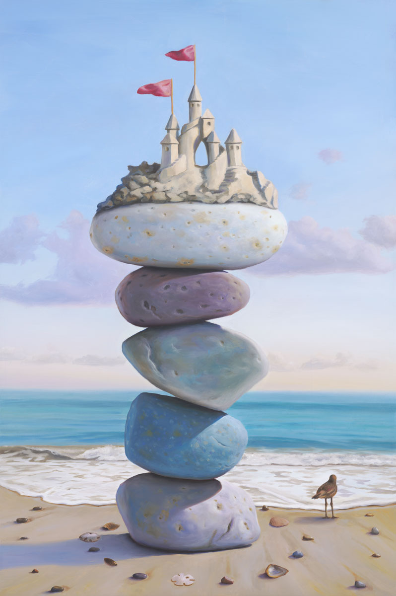 Waiting for Camelot, painting of a sandcastle sitting atop stacked stones on the beach with seashells and sea bird on the ground, sandcastle, castle, art with sandpiper bird, art with stacked stones, cairn, rocks, paintings about balance, sky, change, art about love and longing, dreaming, spiral, shell, seashell, sand, ocean, beach, waves, water, structure, precarious, balance, clouds, courage, release, soulful uplifting inspirational art, soul stirring illusion art, romantic art,  surrealism, surreal art, dreamlike imagery, fanciful art, fantasy art, dreamscape visual, metaphysical art, spiritual painting, metaphysical painting, spiritual art, whimsical art, whimsy art, dream art, fantastic realism art, magic realism oil painting by Paul Bond