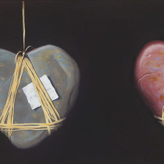 A Discourse on Love, painting of heart stone suspended in air by twine with butterfly and a love note, art elements are heart shaped rock, heart stone, suspended, butterfly,  painting, soulful uplifting inspirational art, soul stirring illusion art, romantic art,  surrealism, surreal art, dreamlike imagery, fanciful art, fantasy art, dreamscape visual, metaphysical art, spiritual painting, metaphysical painting, spiritual art, whimsical art, whimsy art, dream art, fantastic realism art, magic realism oil painting by Paul Bond