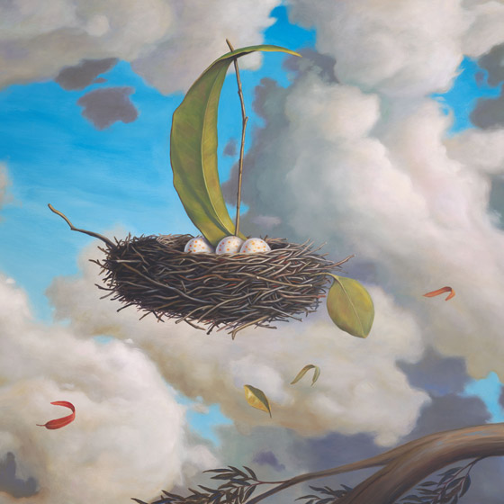 A Favorable Wind, painting of floating birds nest with three eggs, elements in art are leafs and twigs floating on a breeze wind with clouds, art metaphors are grace risk courage and taking chances, soulful uplifting inspirational art, soul stirring illusion art, romantic art,  surrealism, surreal art, dreamlike imagery, fanciful art, fantasy art, dreamscape visual, metaphysical art, spiritual painting, metaphysical painting, spiritual art, whimsical art, whimsy art, dream art, fantastic realism art, magic realism oil painting by Paul Bond