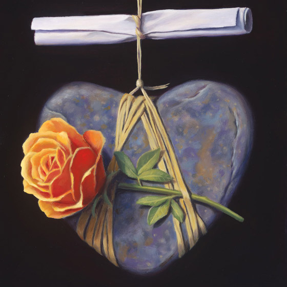 An Enthusiastic Proposal of Deceptively Singular Importance, painting of heart stone suspended by twine with a scroll and orange rose, painting with rocks and stones, art with rose heart, soulful uplifting inspirational art, soul stirring illusion art, romantic art,  surrealism, surreal art, dreamlike imagery, fanciful art, fantasy art, dreamscape visual, metaphysical art, spiritual painting, metaphysical painting, spiritual art, whimsical art, whimsy art, dream art, fantastic realism art, magic realism oil painting by Paul Bond