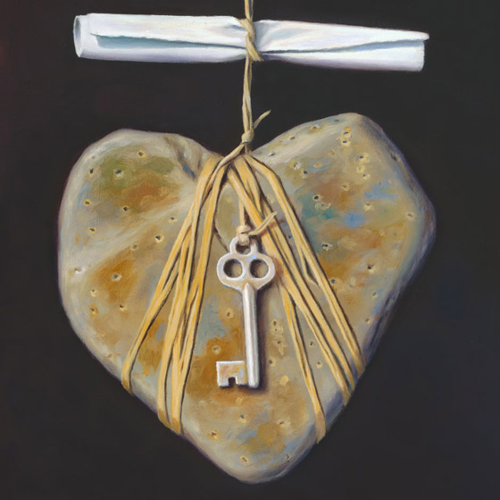 An Invitation to the Intimate, art with love story, painting of a heart-shaped stone dangling from twine beneath a scrolled love letter, art with a tied key, art with heartstone heart shaped rock, painting with suspended skeleton key, painting about intimacy, painting about engaged relationship, art abuot engagemente, art about invitation, soulful uplifting inspirational art, soul stirring illusion art, romantic art,  surrealism, surreal art, dreamlike imagery, fanciful art, fantasy art, dreamscape visual, metaphysical art, spiritual painting, metaphysical painting, spiritual art, whimsical art, whimsy art, dream art, fantastic realism art, magic realism oil painting by Paul Bond