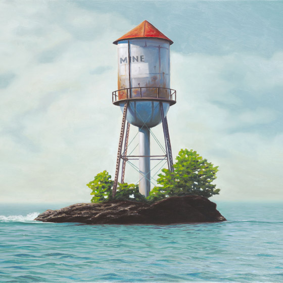 An Unquenchable Thirst, painting of rusty water tower isolated on an island in the ocean, painting about unquenchable thirst, painting about water the sea, art about greed gluttony and hoarding, soulful uplifting inspirational art, soul stirring illusion art, romantic art,  surrealism, surreal art, dreamlike imagery, fanciful art, fantasy art, dreamscape visual, metaphysical art, spiritual painting, metaphysical painting, spiritual art, whimsical art, whimsy art, dream art, fantastic realism art, magic realism oil painting by Paul Bond