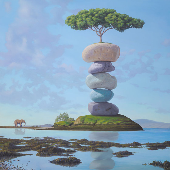 Approaching the Sacred, painting of elephant approaching bonzai tree sitting on top of colorful stacked stones, art with elephant, art with cairn, art about sacfred holy reverence, soulful uplifting inspirational art, soul stirring illusion art, romantic art,  surrealism, surreal art, dreamlike imagery, fanciful art, fantasy art, dreamscape visual, metaphysical art, spiritual painting, metaphysical painting, spiritual art, whimsical art, whimsy art, dream art, fantastic realism art, magic realism oil painting by Paul Bond