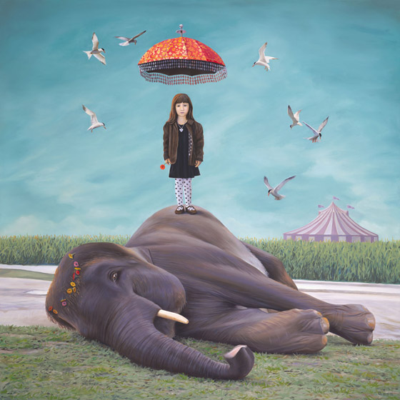 Eleanor Dreams of a Miraculous Rescue, painting of a girl standing on top of an elephant, art with girl with red umbrella and red flower, portrait of girl wtih elephant, art meaning  pachyderm, art with circus animals, art meaning rescue, art about ideaslism, art juxtapositionn, soulful uplifting inspirational art, soul stirring illusion art, romantic art,  surrealism, surreal art, dreamlike imagery, fanciful art, fantasy art, dreamscape visual, metaphysical art, spiritual painting, metaphysical painting, spiritual art, whimsical art, whimsy art, dream art, fantastic realism art, limited edition giclee, signed art print, fine art reproduction, original magic realism oil painting by Paul Bond