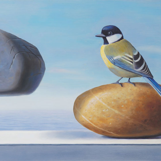 Envy, painting of a bird sitting on a rock staring at a floating rock, painting with ocean sea background, art with bird and rocks, painting with floating stones, art meaning folly, art about being envious, soulful uplifting inspirational art, soul stirring illusion art, romantic art,  surrealism, surreal art, dreamlike imagery, fanciful art, fantasy art, dreamscape visual, metaphysical art, spiritual painting, metaphysical painting, spiritual art, whimsical art, whimsy art, dream art, fantastic realism art, magic realism oil painting by Paul Bond