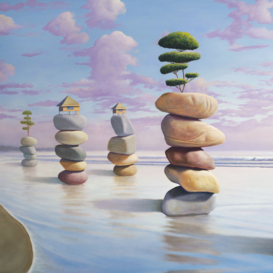 Happiness By Design, painting of five stacked stone cairns in the ocean, stones with trees and huts atop them, art meaning about wisdom happiness zen balance joy community, art with abstract homes and huts, art with imaginary houses, painting with trees on the  beach, art with ocean water and waves, painting with clouds,soulful uplifting inspirational art, soul stirring illusion art, romantic art,  surrealism, surreal art, dreamlike imagery, fanciful art, fantasy art, dreamscape visual, metaphysical art, spiritual painting, metaphysical painting, spiritual art, whimsical art, whimsy art, dream art, fantastic realism art, magic realism oil painting by Paul Bond