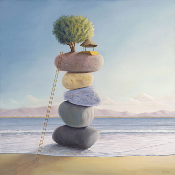 Happiness In Perpetuity, painting of tree hut perched on stacked stones, painting of cairn on the water at beach with ladder and tree, painting about wisdom happiness zen balance joy community, painting with home with a view, art wtih abstract huts, art with trees beach ocean and water, art with waves, painting with clouds, soulful uplifting inspirational art, soul stirring illusion art, romantic art,  surrealism, surreal art, dreamlike imagery, fanciful art, fantasy art, dreamscape visual, metaphysical art, spiritual painting, metaphysical painting, spiritual art, whimsical art, whimsy art, dream art, fantastic realism art, magic realism oil painting by Paul Bond