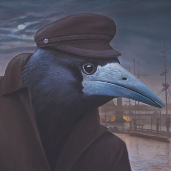 Le Provocateur, painting of a raven wearing a fishermans coat and hat, painting of bird on the wharf at night, painting of crow portrait, art with bird, painting with boat shipyard, art with dock and pier, picture about a fisherman, art wtih nighttime worker, dark painting with the moon, 19th Century art scene, art about steampunk industry, painting about an industrialist, soulful uplifting inspirational art, soul stirring illusion art, romantic art,  surrealism, surreal art, dreamlike imagery, fanciful art, fantasy art, dreamscape visual, metaphysical art, spiritual painting, metaphysical painting, spiritual art, whimsical art, whimsy art, dream art, fantastic realism art, magic realism oil painting by Paul Bond