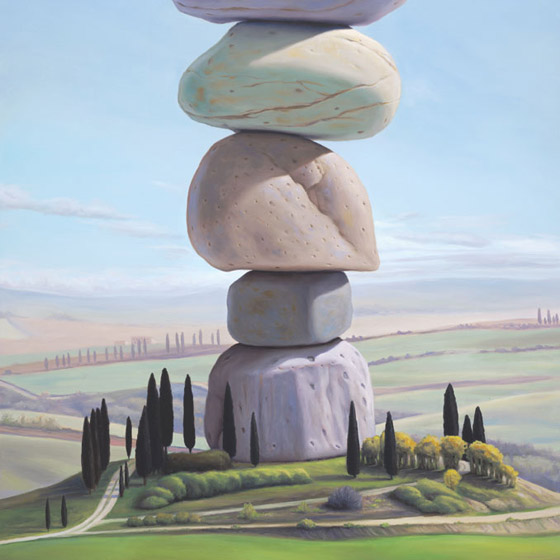 L'isola, painting of Tuscan farmhouse sitting on top of stacked stones, painting of stacked rock cairn on farmland in Italy, art with cairn on island, art dreaming of Tuscany Italy, soulful uplifting inspirational art, soul stirring illusion art, romantic art,  surrealism, surreal art, dreamlike imagery, fanciful art, fantasy art, dreamscape visual, metaphysical art, spiritual painting, metaphysical painting, spiritual art, whimsical art, whimsy art, dream art, fantastic realism art, magic realism oil painting by Paul Bond
